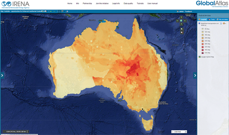 Map showing Australia's geothermal hotspots (Source: IRENA)
