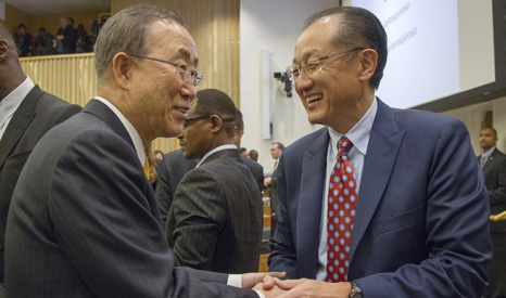 UN chief Ban Ki-moon and World Bank president Jim Kim, who both spoke at finance talks in New York (Pic: UN)