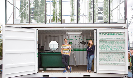 The GrowUp box shows how fish and salads can be farmed in cities