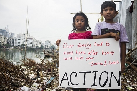 Saima and Habib tell their story in Dhaka (Pic: Flickr/Climate March)