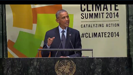 US president Barack Obama takes the stage in New York (Screenshot, UN livestream)