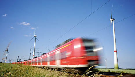 Trains and windfarms are the kind of low carbon projects green bonds can finance (Pic: Flickr/Windwärts Energie/Mark Mühlhaus)