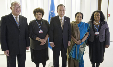 BASIC group officials with UN secretary general Ban Ki-moon at the 2013 Warsaw climate summit (Pic: UN Photos)