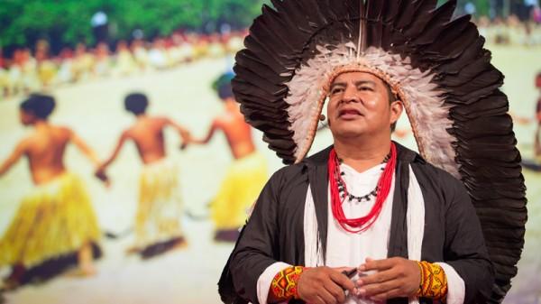 Tashka Yawanawa speaking at TEDGlobal 2014, South, in Rio de Janeiro (Photo: James Duncan Davidson/TED)