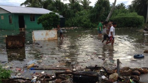 Homes were damaged as high tides swamped the Marshall Islands on 9 October
