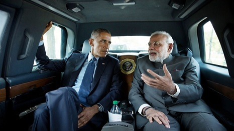 Obama and Modi head for the Martin Luther King memorial in Washington (Source: White House)