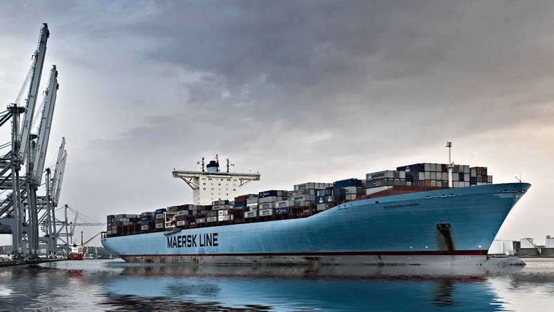 The Eleonora Maersk is one of the biggest container ships ever built, burning 3,600 US gallons of oil an hour (Pic: Maersk/Flickr)