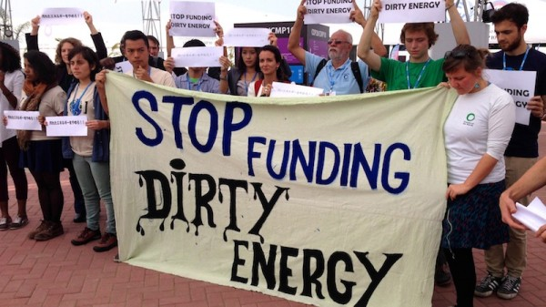 Activists protest Japan's funding of coal with climate finance in Lima (Pic: Sophie Yeo)