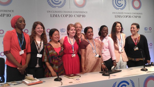 Women from grassroots movements around the world at Lima climate talks (Pic: Megan Darby)