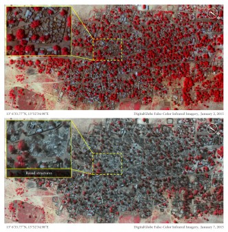 Satellite impages of Doron Baga taken on 2 and 7 January show thousands of buildings were razed (Source: Amnesty International)