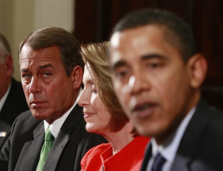House of Representatives Speaker John Boehner steals a sneaky glance at Obama (Pic: david silver/Flickr)