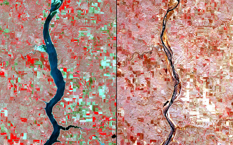 Pic: 2000 image taken by Landsat. 2004 image taken by the Advanced Spaceborne Thermal Emission and Reflection Radiometer (ASTER), courtesy of NASA/GSFC/METI/Japan Space Systems and the U.S./Japan ASTER Science Team