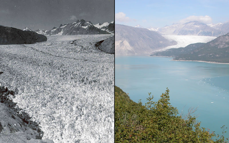 Pic credits: Ulysses William O. Field (left); Bruce F. Molnia, courtesy of the Glacier Photograph Collection, National Snow and Ice Data Center/World Data Center for Glaciology