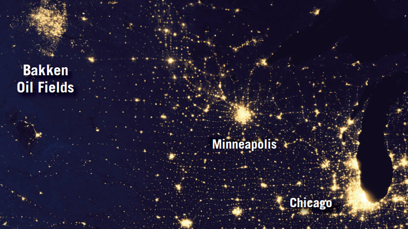 Flaring oil and gas wells lighting the night's sky in the US (Pic: NASA)