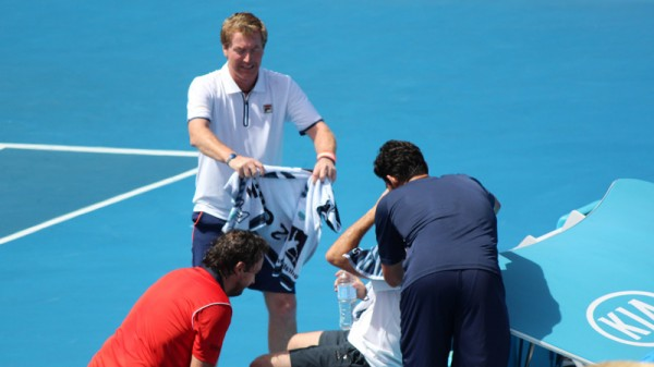 Players Henri Leconte, Mark Woodforde, Mark Philippoussis and Todd Woodbridge under the hot sun of 2014's Australian Open (Pic: Flickr/Tourism Victoria)