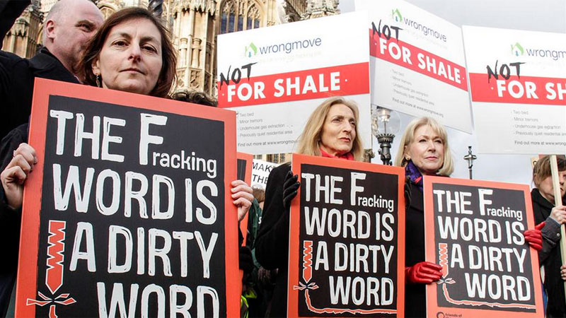 Protesters rallied outside Parliament yesterday as MPs debated fracking (Pic: Friends of the Earth UK/Twitter)