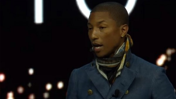 """Pharrell Williams: """"I am very happy and proud to be a part of this moment for our species."""" (Pic: Screenshot, WEF webcast)"""