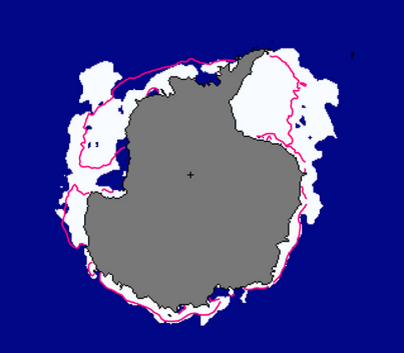 Antarctic sea ice as visualised by NOAA. The pink line is the  median extent of ice from 1981-2010 (Pic: NOAA)