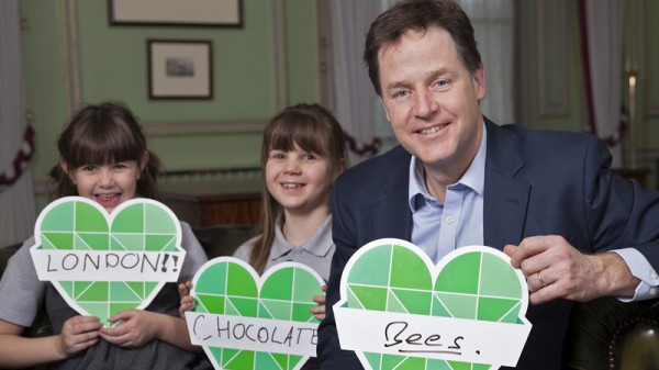 Nick Clegg with Ruby Tegg, 7, and Ava Holland, 8