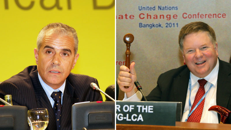Ahmed Djoghlaf (l) and Daniel Reifsnyder (r), UNFCCC ADP co chairs. (Pics: IISD + IISD)