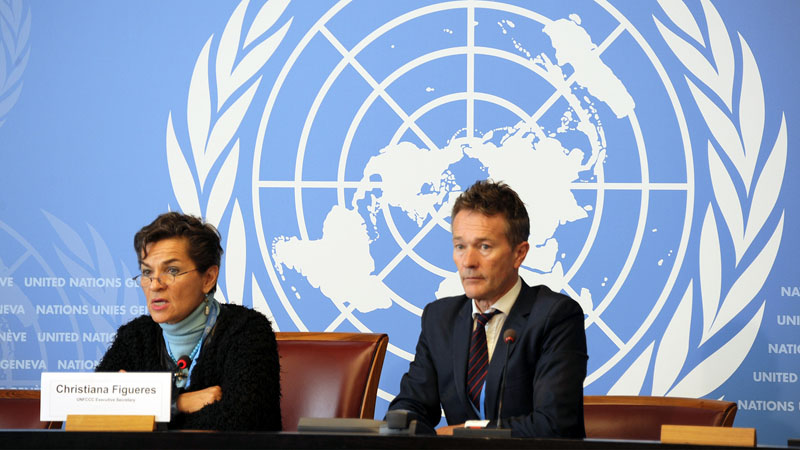 UNFCCC executive secretary Christiana Figueres address the media in Geneva (Pic: UNFCCC/Flickr)