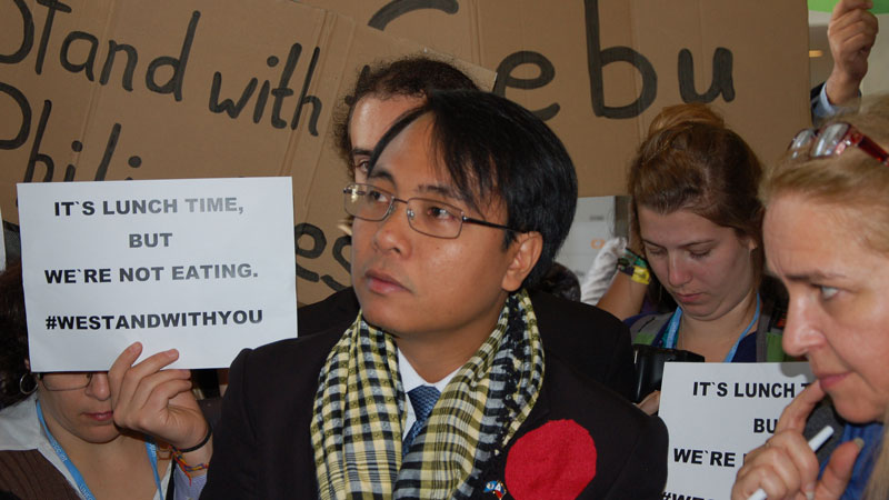 Filipino negotiator Yeb Sano kicked off a fasting trend during UN talks in 2013 (Pic: 350.org)