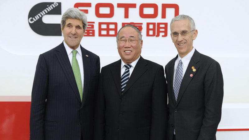 US secretary of state John Kerry, China's outgoing climate chief Xie Zhenhua and special envoy Todd Stern (Pic: State Department)