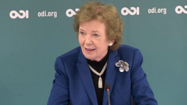 Mary Robinson is a climate justice campaigner, UN special envoy and former president of Ireland (Pic: twitter/ODI)