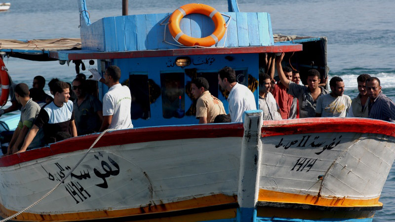 Migrants from Africa arriving in Lampedusa, a small Italian island in the Mediterranean (Pic: Noborder Network/Flickr)