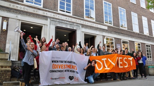 Student campaigners celebrate victory (Pic: Fossil Free SOAS)