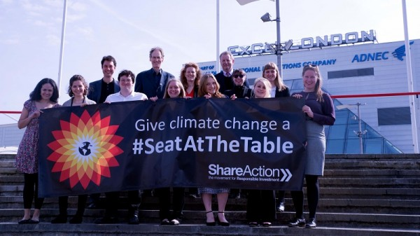 ShareAction campaigners demonstrate at the BP AGM in London (Pic: ShareAction)