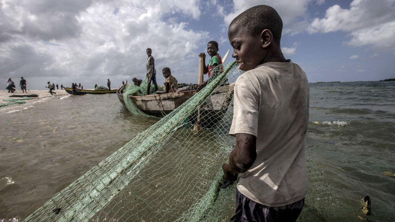 Fishermen gather seine nets from the water on the Ilha de Mafamede, Mozambique.(Pic; WWF)