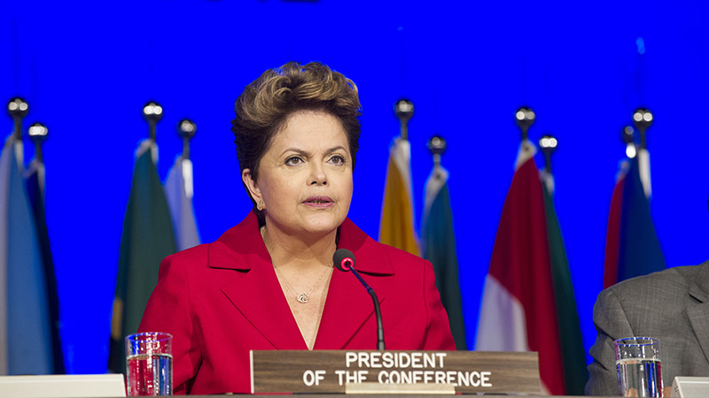 Dilma Rousseff, President of Brazil, speaks at the official opening session of the UN's Rio+20 Conference on Sustainable Development in 2012 (Pic: UN Photo/Mark Garten)