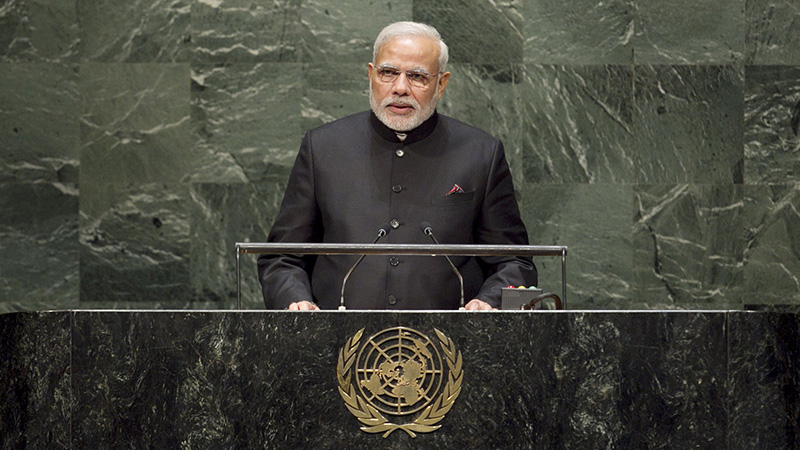 India prime minister Narendra Modi addresses the 2014 General Assembly (Pic: UN photos)