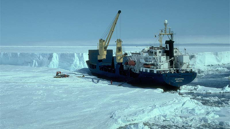 Research vessel deploying instruments on Antarctic ice shelf (Photo: Jonathan L Bamber)
