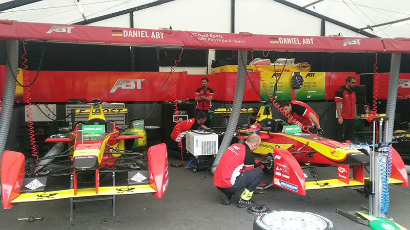 Engineers at Audi's Formula E team prepare their cars ahead of the last race of the 2014-2015 season (Pic: ED King/RTCC)