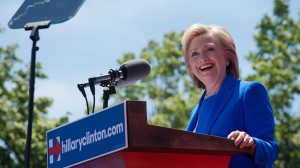 Hillary Clinton mocks climate sceptics at presidential campaign launch