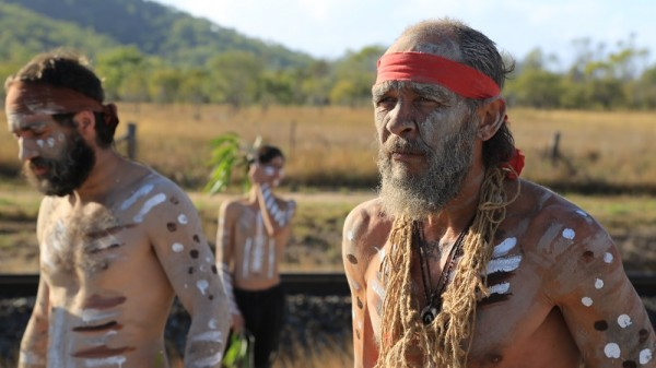 Aboriginal elders protest on the Abbot Point site (