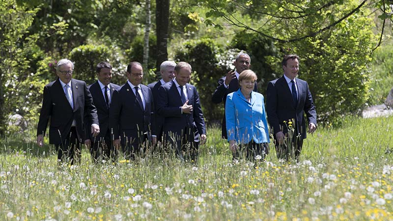 Leaders stroll in the grounds of the G7 summit in Germany on June 7th (Flickr/ European External Action Service)