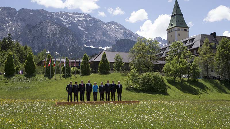Leaders at Elmau Schloss castle in the Bavarian alps