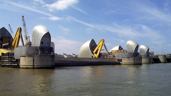 The Thames Barrier protects London from tidal surges (Flickr/mtarvainen)