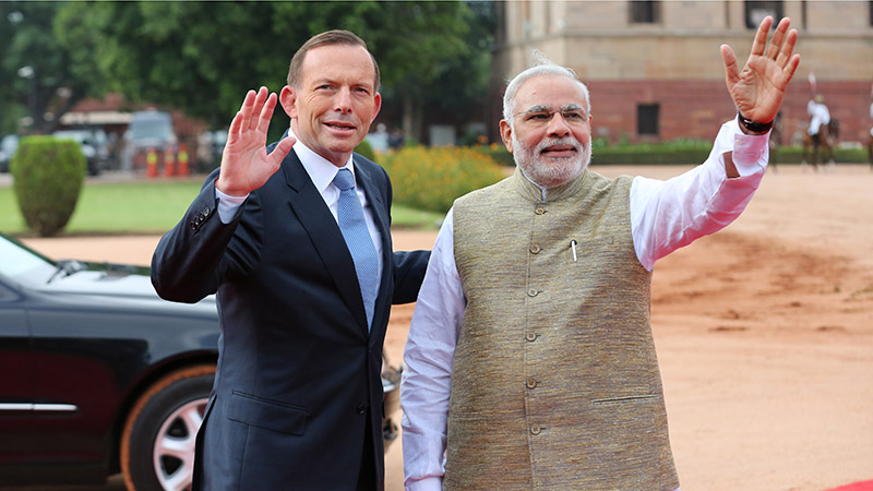 Australia and India leaders Tony Abbott and Narendra Modi in 2014 (Flickr/ Tony Abbott)
