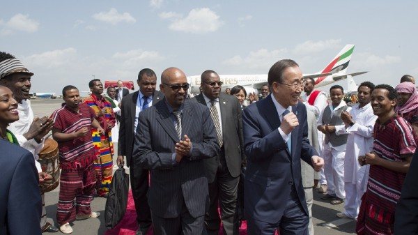 UN secretary general Ban Ki-moon arrives in Addis Ababa, but where are rich countries' finance ministers? (UN Photo)