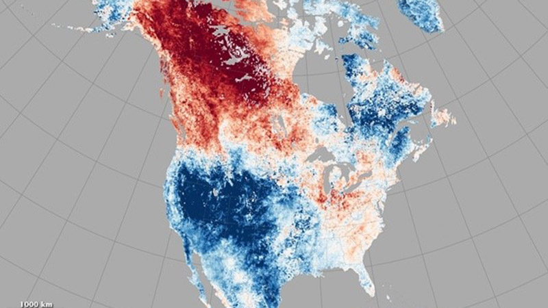 This map shows the record heat northwestern Canada and parts of Alaska experienced in the third week of May. (Photo credit: NASA Earth Observatory)