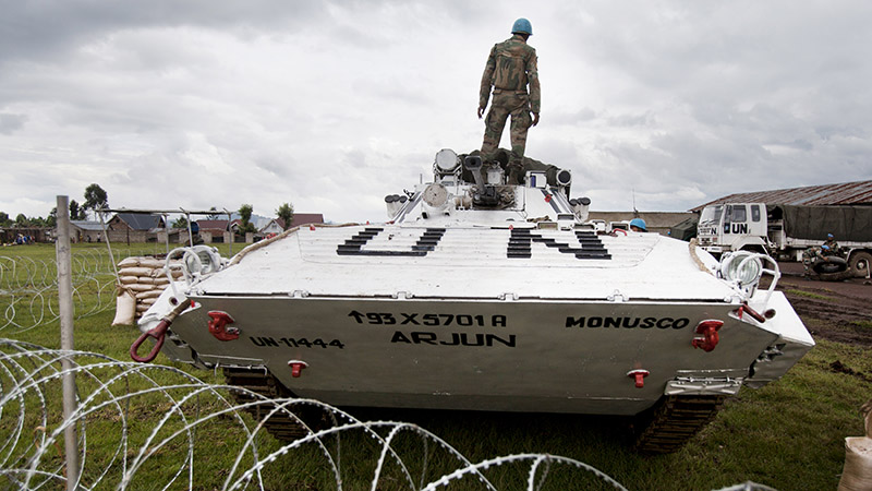 Peacekeepers in armoured vehicles from the UN's mission in the Democratic Republic of the Congo (DRC), MONUSCO (Pic: UN Photos)