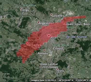 Footprint of the Carmichael mine superimposed on a map of Paris (Source: Richard Denniss)