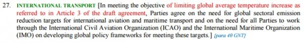 Excerpt from the latest version of the negotiating text for a UN climate deal