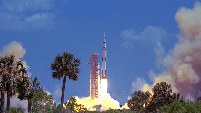 The Apollo 16 Saturn V space vehicle carrying astronauts John W. Young, Thomas K. Mattingly II, and Charles M. Duke, Jr., lifted off to the Moon at 12:54 p.m. EST April 16, 1972, from the Kennedy Space Center Launch Complex 39A. (Flickr/ Stuart rankin)