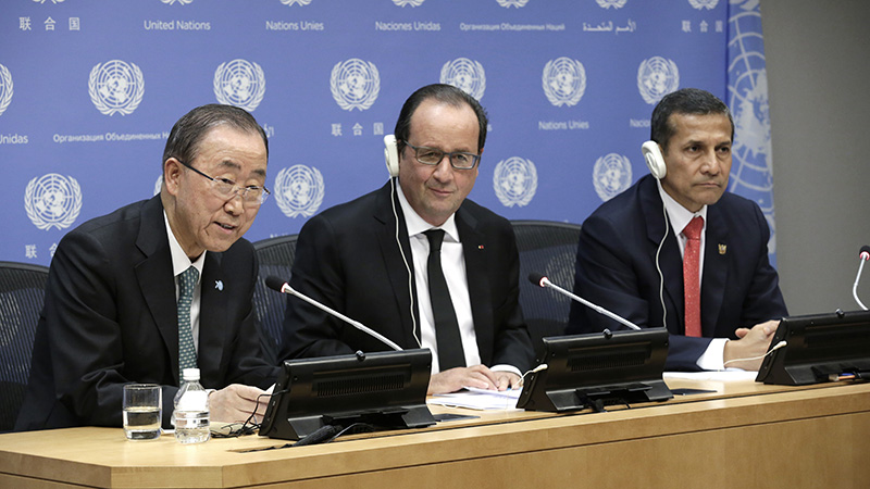 The lunch was hosted by UN Secretary-General Ban Ki-moon, French President François Hollande and Peruvian President Ollanta Humala Tasso and attended by a small but representative group of world leaders.