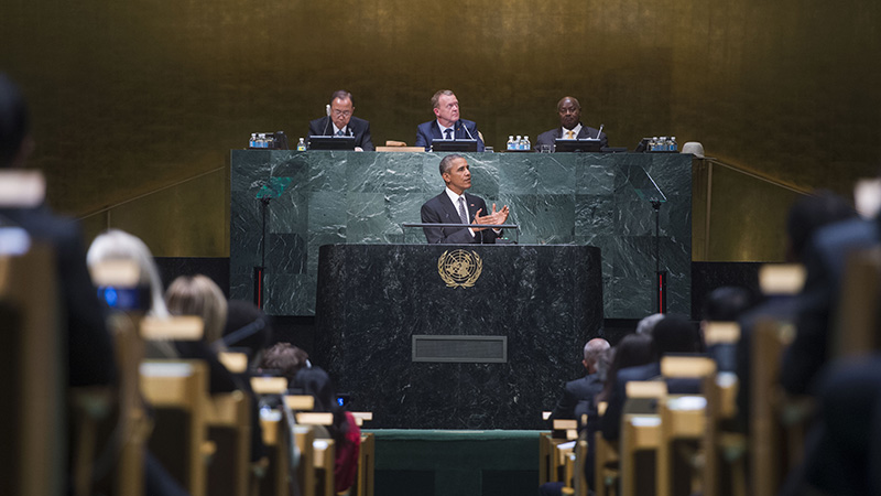 United States President Barack Obama addresses the conclusion of the 10th plenary meeting of the High-level plenary meeting of the United Nations summit for the adoption of the post-2015 development agenda